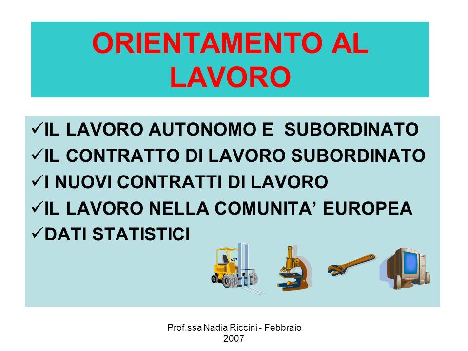 Prof.ssa Nadia Riccini - Febbraio 2007 ORIENTAMENTO AL LAVORO IL LAVORO AUTONOMO E SUBORDINATO IL CONTRATTO DI LAVORO SUBORDINATO I NUOVI CONTRATTI DI