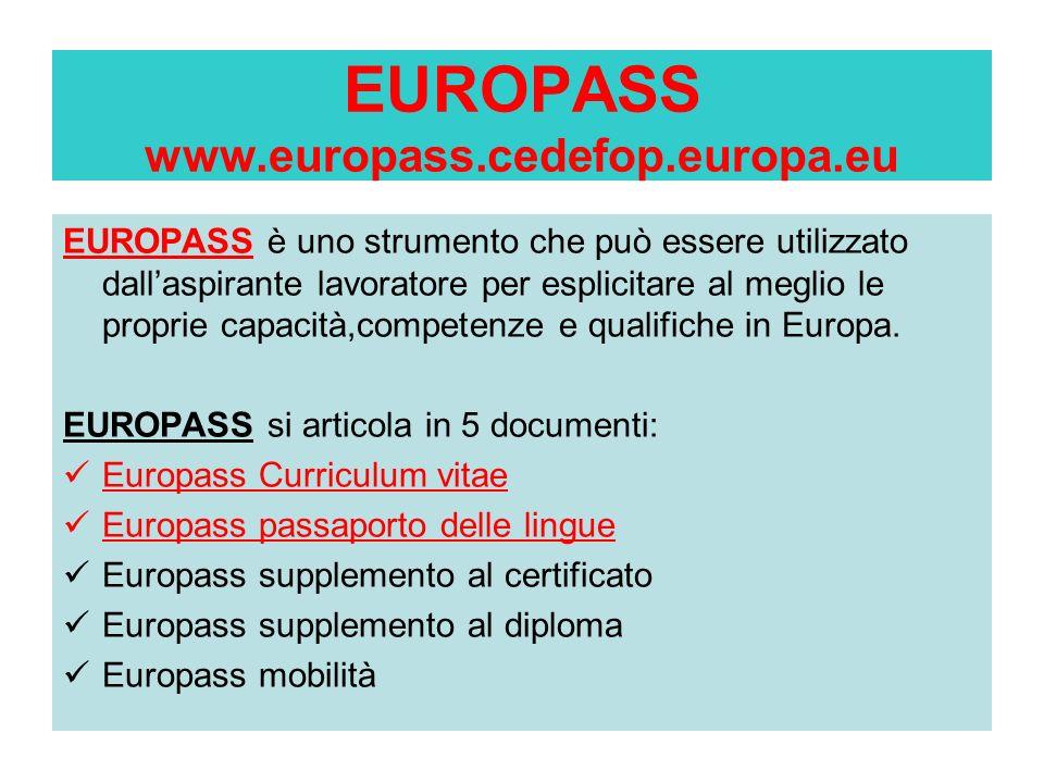 EUROPASS www.europass.cedefop.europa.eu EUROPASS è uno strumento che può essere utilizzato dallaspirante lavoratore per esplicitare al meglio le propr