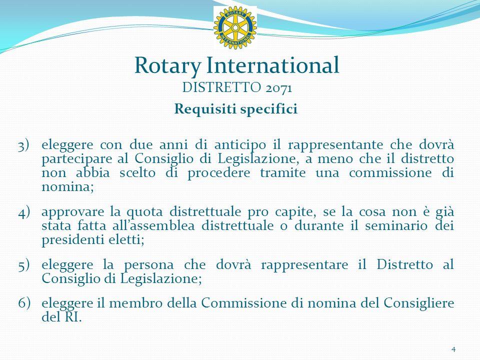 Rotary International DISTRETTO 2071 Raccomandazioni Il congresso deve inoltre durare due o tre giornate piene, con sessioni plenarie e discussioni di gruppo sul Rotary e sulla Fondazione; promuovere la partecipazione includendo gruppi di discussione; avere un programma equilibrato, seppure incentrato sul Rotary e la sua Fondazione; esaminare eventuali risoluzioni distrettuali; riconoscere ed accogliere i nuovi soci, i soci che partecipano a un congresso distrettuale per la prima volta, i presidenti e i dirigenti di club entranti; prendere in esame eventuali risoluzioni; promuovere i progetti dei Club e del Distretto; segue 5
