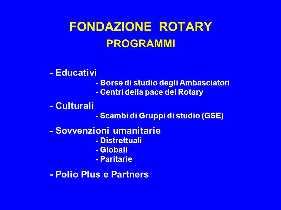 FONDAZIONE ROTARY PROGRAMMI - Educativi - Borse di studio degli Ambasciatori - Centri della pace del Rotary - Culturali - Scambi di Gruppi di studio (GSE) - Sovvenzioni umanitarie - Distrettuali - Globali - Paritarie - Polio Plus e Partners