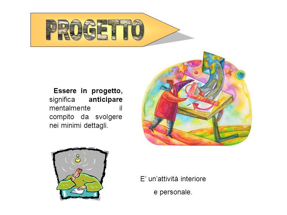 Essere in progetto, significa anticipare mentalmente il compito da svolgere nei minimi dettagli. E unattività interiore e personale.