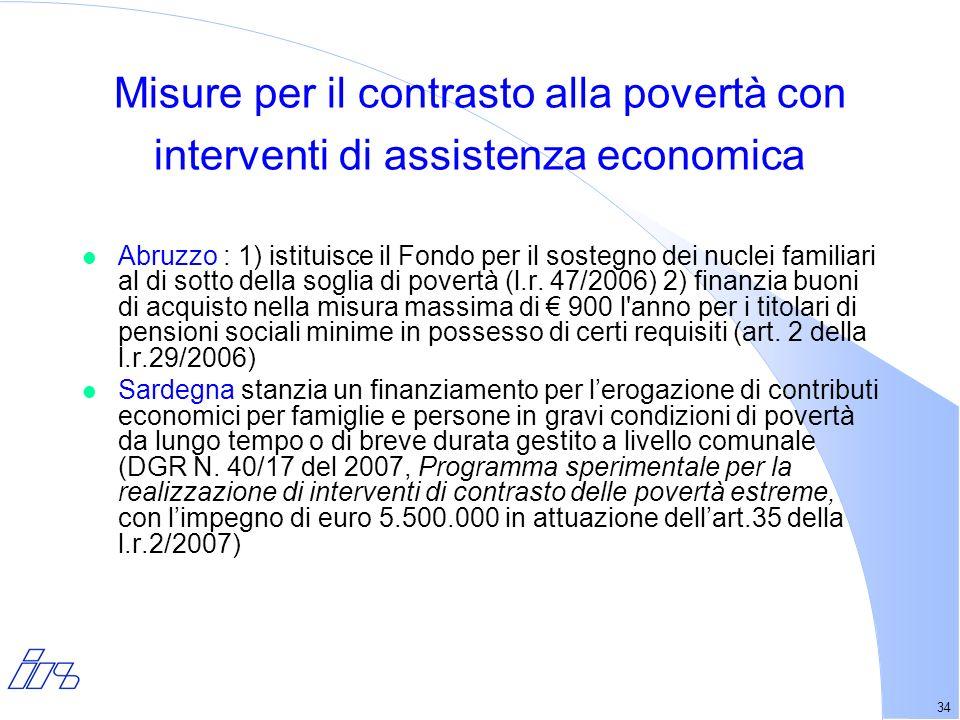 34 Misure per il contrasto alla povertà con interventi di assistenza economica l Abruzzo : 1) istituisce il Fondo per il sostegno dei nuclei familiari al di sotto della soglia di povertà (l.r.