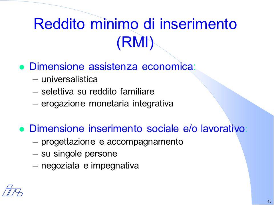 45 Reddito minimo di inserimento (RMI) l Dimensione assistenza economica: –universalistica –selettiva su reddito familiare –erogazione monetaria integrativa l Dimensione inserimento sociale e/o lavorativo : –progettazione e accompagnamento –su singole persone –negoziata e impegnativa