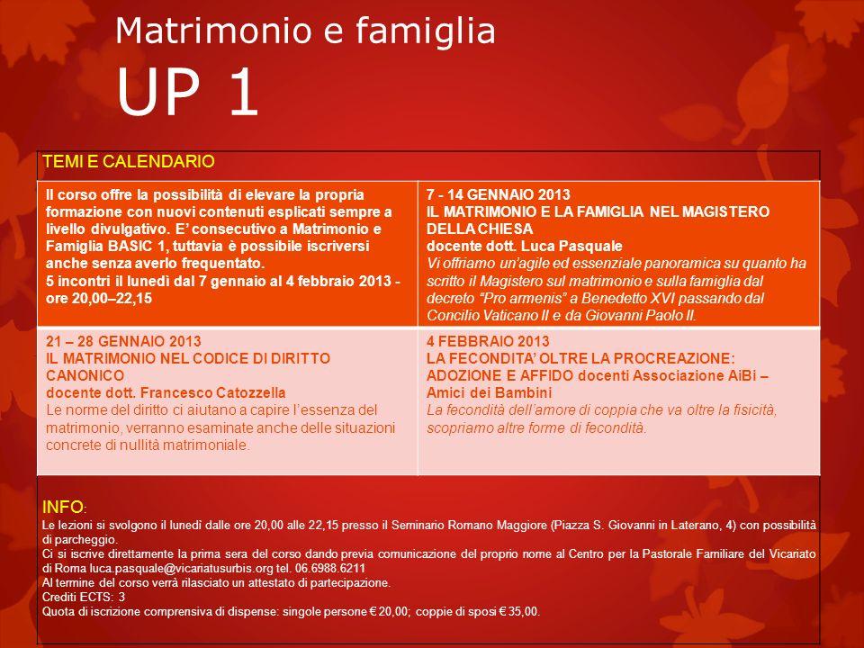 Matrimonio e famiglia UP 1 TEMI E CALENDARIO INFO : Le lezioni si svolgono il lunedì dalle ore 20,00 alle 22,15 presso il Seminario Romano Maggiore (P