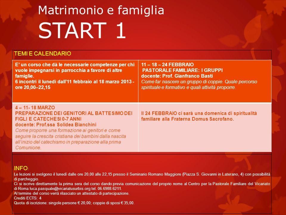 Matrimonio e famiglia START 1 TEMI E CALENDARIO INFO : Le lezioni si svolgono il lunedì dalle ore 20,00 alle 22,15 presso il Seminario Romano Maggiore