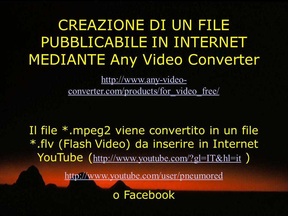 CREAZIONE DI UN FILE PUBBLICABILE IN INTERNET MEDIANTE Any Video Converter http://www.any-video- converter.com/products/for_video_free/ Il file *.mpeg