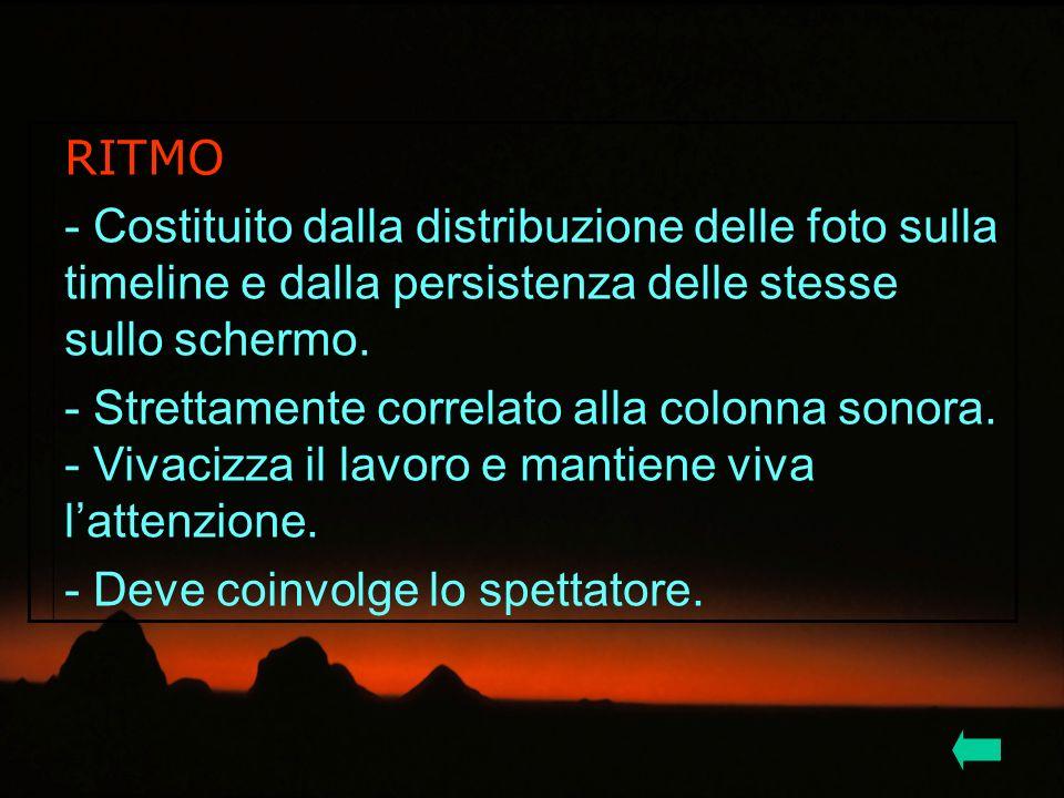 RITMO - Costituito dalla distribuzione delle foto sulla timeline e dalla persistenza delle stesse sullo schermo. - Strettamente correlato alla colonna