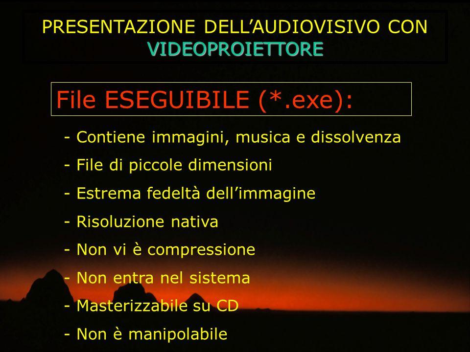 VIDEOPROIETTORE PRESENTAZIONE DELLAUDIOVISIVO CON VIDEOPROIETTORE File ESEGUIBILE (*.exe): - Contiene immagini, musica e dissolvenza - File di piccole