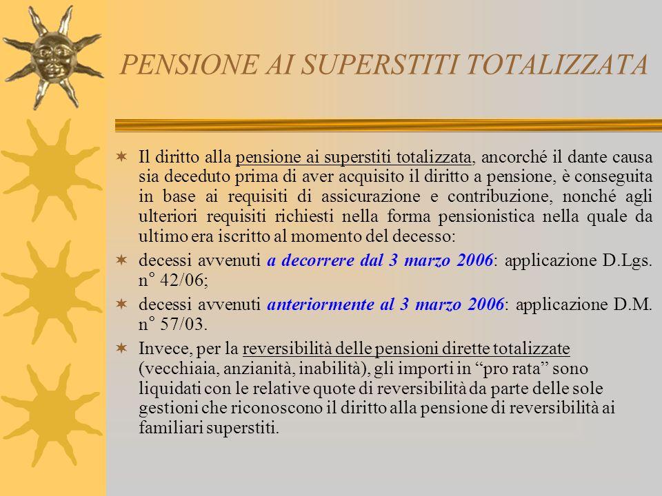 PENSIONE AI SUPERSTITI TOTALIZZATA Il diritto alla pensione ai superstiti totalizzata, ancorché il dante causa sia deceduto prima di aver acquisito il