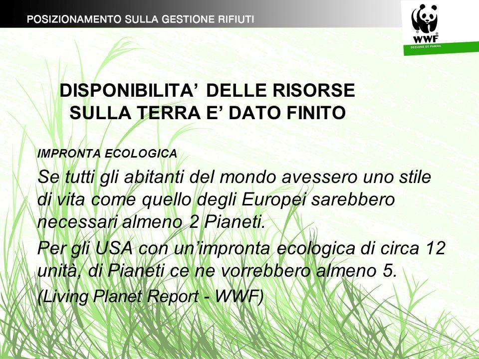 DISPONIBILITA DELLE RISORSE SULLA TERRA E DATO FINITO IMPRONTA ECOLOGICA Nella provincia di Parma: impronta ecologica pari a 9,11 ettari biocapacità pari a 2.66 ettari (dati forniti dal Servizio Ambiente della Provincia.