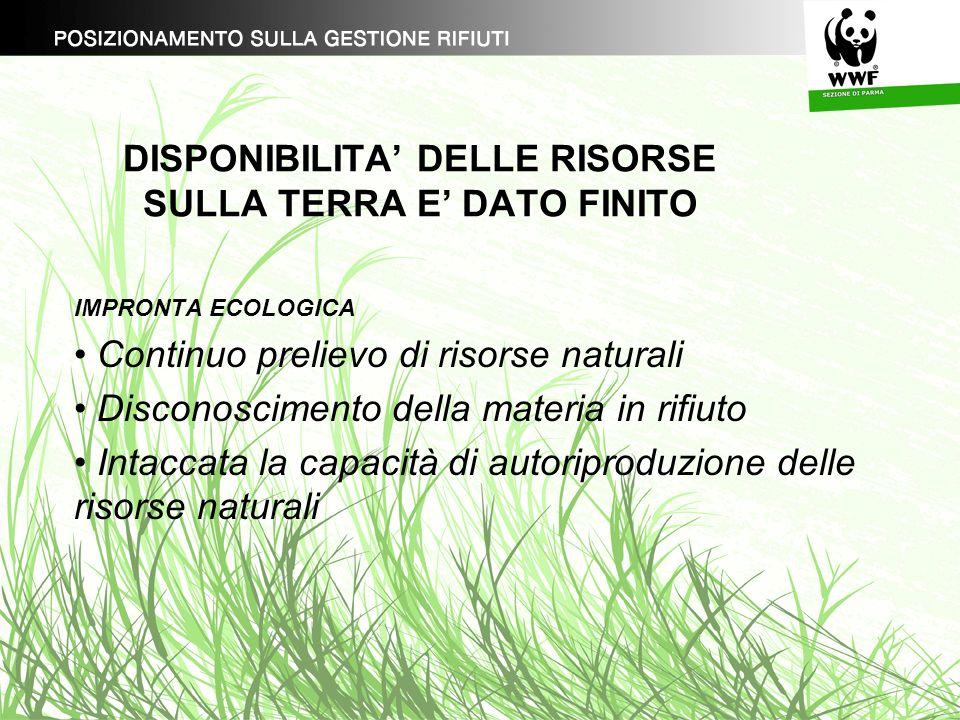 DISPONIBILITA DELLE RISORSE SULLA TERRA E DATO FINITO IMPRONTA ECOLOGICA Continuo prelievo di risorse naturali Disconoscimento della materia in rifiut
