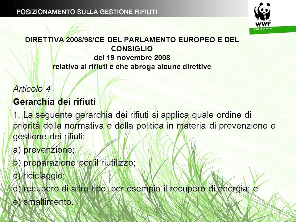DIRETTIVA 2008/98/CE DEL PARLAMENTO EUROPEO E DEL CONSIGLIO del 19 novembre 2008 relativa ai rifiuti e che abroga alcune direttive Articolo 4 Gerarchi