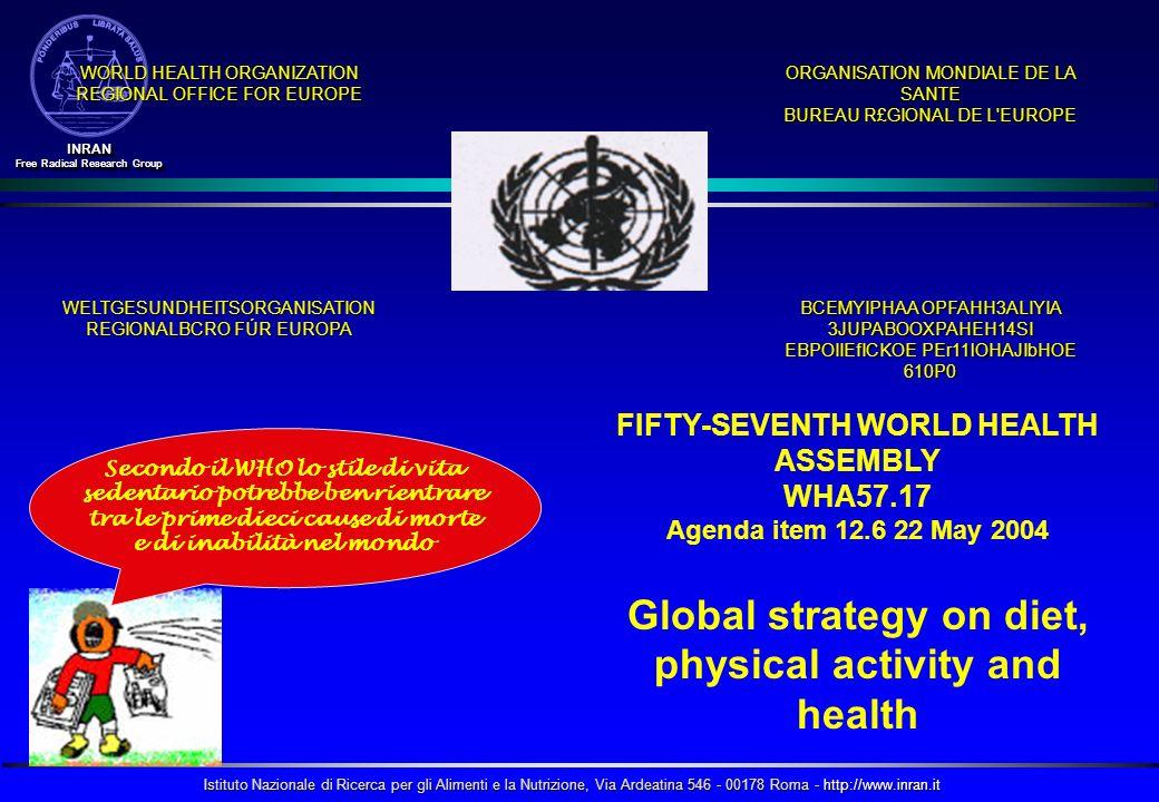 Istituto Nazionale di Ricerca per gli Alimenti e la Nutrizione, Via Ardeatina 546 - 00178 Roma - http://www.inran.it INRAN Free Radical Research Group INRAN WORLD HEALTH ORGANIZATION REGIONAL OFFICE FOR EUROPE ORGANISATION MONDIALE DE LA SANTE BUREAU R£GIONAL DE L EUROPE WELTGESUNDHEITSORGANISATION REGIONALBCRO FÚR EUROPA BCEMYIPHAA OPFAHH3ALIYIA 3JUPABOOXPAHEH14SI EBPOIIEfICKOE PEr11lOHAJIbHOE 610P0 FIFTY-SEVENTH WORLD HEALTH ASSEMBLY WHA57.17 Agenda item 12.6 22 May 2004 Global strategy on diet, physical activity and health Secondo il WHO lo stile di vita sedentario potrebbe ben rientrare tra le prime dieci cause di morte e di inabilità nel mondo