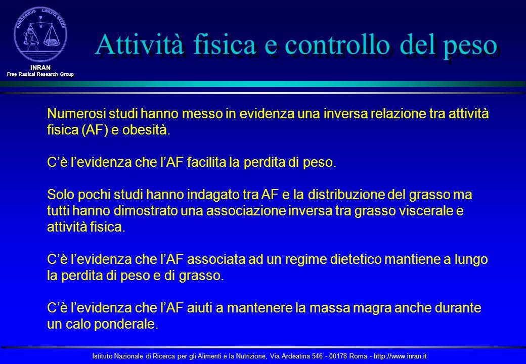 Istituto Nazionale di Ricerca per gli Alimenti e la Nutrizione, Via Ardeatina 546 - 00178 Roma - http://www.inran.it INRAN Free Radical Research Group INRAN Numerosi studi hanno messo in evidenza una inversa relazione tra attività fisica (AF) e obesità.