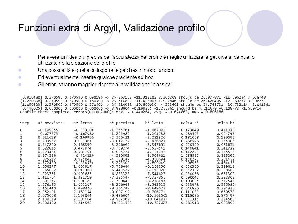 Funzioni extra di Argyll, Validazione profilo Per avere unidea più precisa dellaccuratezza del profilo è meglio utilizzare target diversi da quello ut