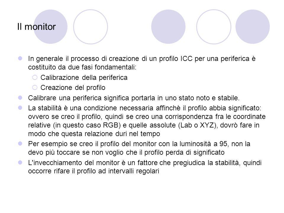 Il monitor In generale il processo di creazione di un profilo ICC per una periferica è costituito da due fasi fondamentali: Calibrazione della periferica Creazione del profilo Calibrare una periferica significa portarla in uno stato noto e stabile.