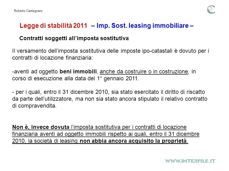 Legge di stabilità 2011 – Imp. Sost.