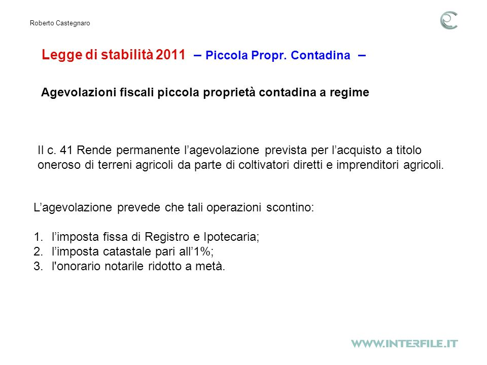 Legge di stabilità 2011 – Piccola Propr.