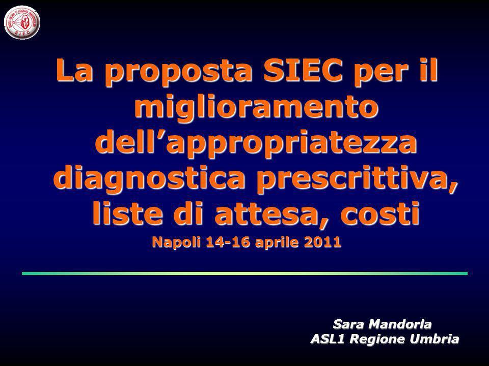 La proposta SIEC per il miglioramento dellappropriatezza diagnostica prescrittiva, liste di attesa, costi Napoli 14-16 aprile 2011 Sara Mandorla ASL1 Regione Umbria