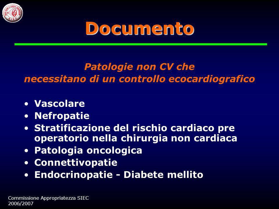 Screening nella popolazione generale Patologia valvolare cardiaca Endocardite infettiva Scompenso cardiaco, cardiomiopatie, trapianto cardiaco Ecocard