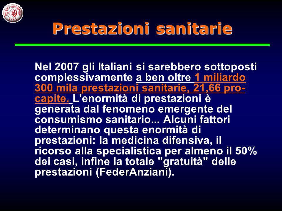 Nel 2007 gli Italiani si sarebbero sottoposti complessivamente a ben oltre 1 miliardo 300 mila prestazioni sanitarie, 21,66 pro- capite.