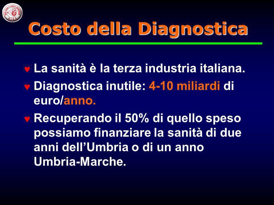 La sanità è la terza industria italiana.Diagnostica inutile: 4-10 miliardi di euro/anno.