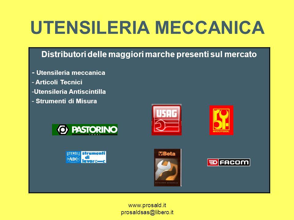 www.prosald.it prosaldsas@libero.it UTENSILERIA MECCANICA Distributori delle maggiori marche presenti sul mercato - Utensileria meccanica - Articoli T
