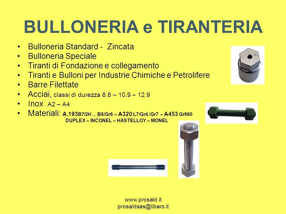 www.prosald.it prosaldsas@libero.it BULLONERIA e TIRANTERIA Bulloneria Standard - Zincata Bulloneria Speciale Tiranti di Fondazione e collegamento Tir