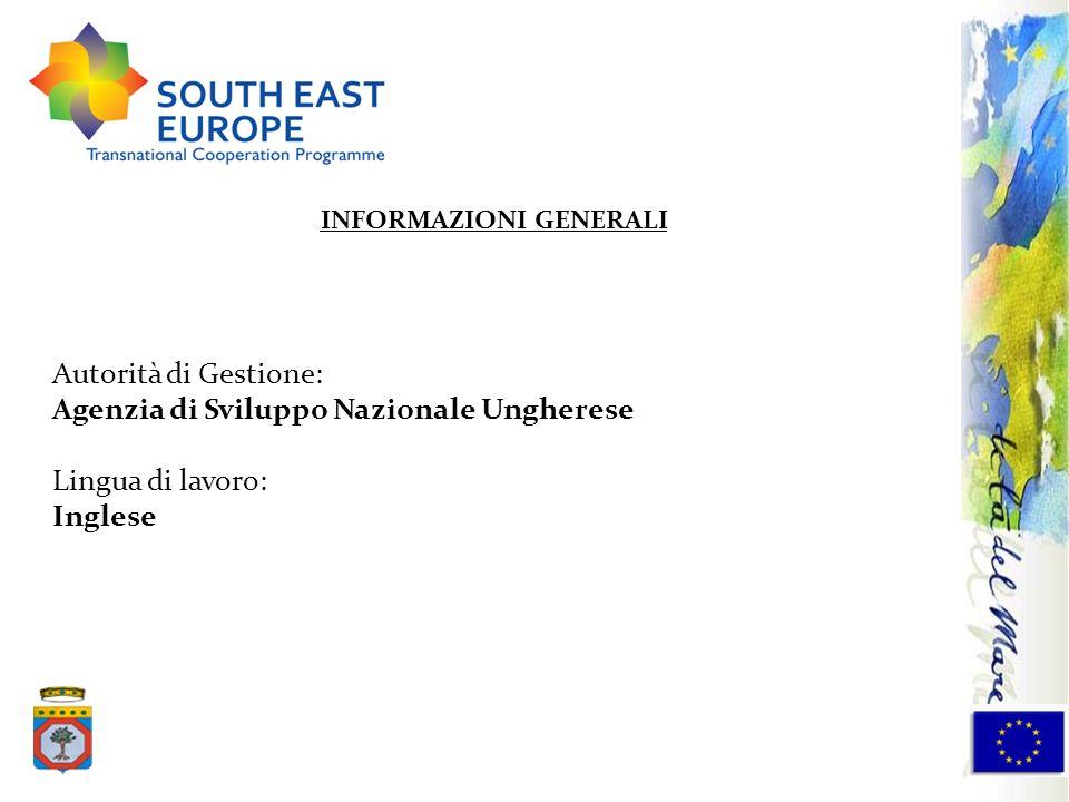 Autorità di Gestione: Agenzia di Sviluppo Nazionale Ungherese Lingua di lavoro: Inglese INFORMAZIONI GENERALI