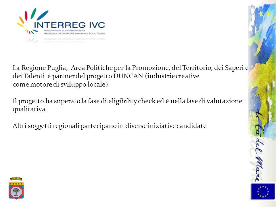 La Regione Puglia, Area Politiche per la Promozione, del Territorio, dei Saperi e dei Talenti è partner del progetto DUNCAN (industrie creative come m