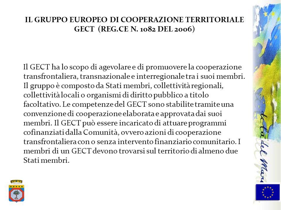 IL GRUPPO EUROPEO DI COOPERAZIONE TERRITORIALE GECT (REG.CE N. 1082 DEL 2006) Il GECT ha lo scopo di agevolare e di promuovere la cooperazione transfr