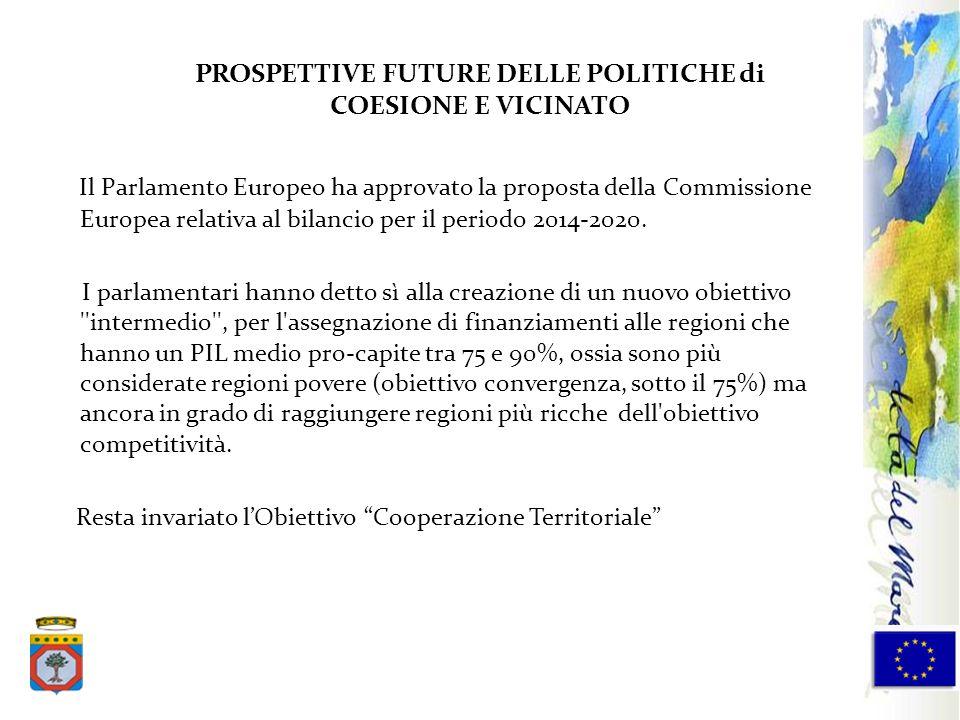 PROSPETTIVE FUTURE DELLE POLITICHE di COESIONE E VICINATO Il Parlamento Europeo ha approvato la proposta della Commissione Europea relativa al bilanci