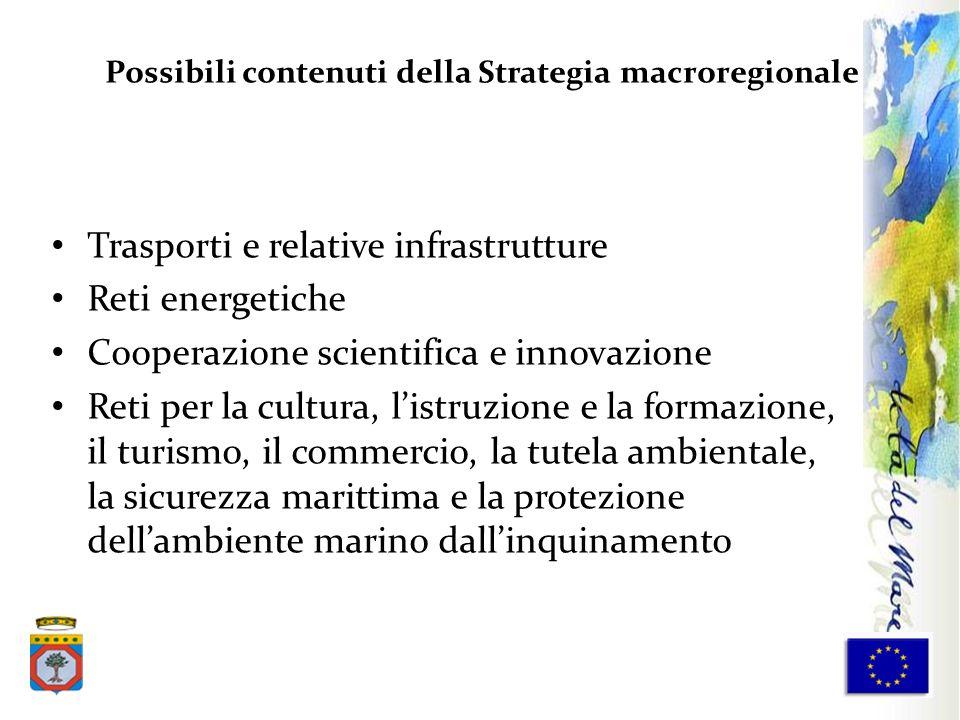 Trasporti e relative infrastrutture Reti energetiche Cooperazione scientifica e innovazione Reti per la cultura, listruzione e la formazione, il turis
