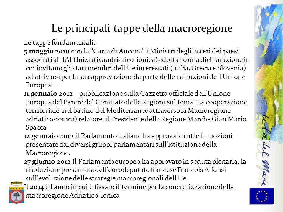 Le tappe fondamentali: 5 maggio 2010 con la Carta di Ancona i Ministri degli Esteri dei paesi associati allIAI (Iniziativa adriatico-ionica) adottano
