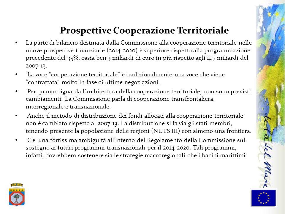La parte di bilancio destinata dalla Commissione alla cooperazione territoriale nelle nuove prospettive finanziarie (2014-2020) è superiore rispetto a