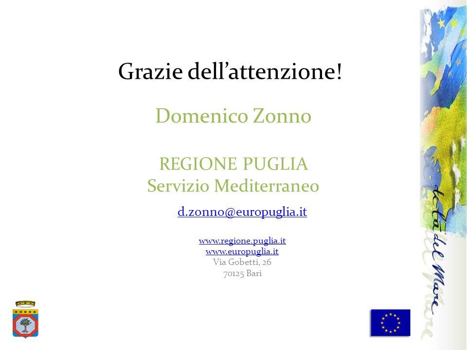 Domenico Zonno REGIONE PUGLIA Servizio Mediterraneo d.zonno@europuglia.it www.regione.puglia.it www.europuglia.it Via Gobetti, 26 70125 Bari Grazie de