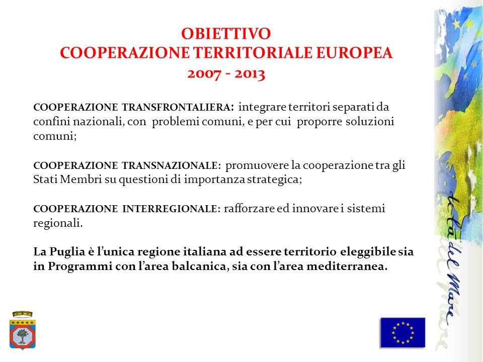 OBIETTIVO COOPERAZIONE TERRITORIALE EUROPEA 2007 - 2013 COOPERAZIONE TRANSFRONTALIERA : integrare territori separati da confini nazionali, con problem
