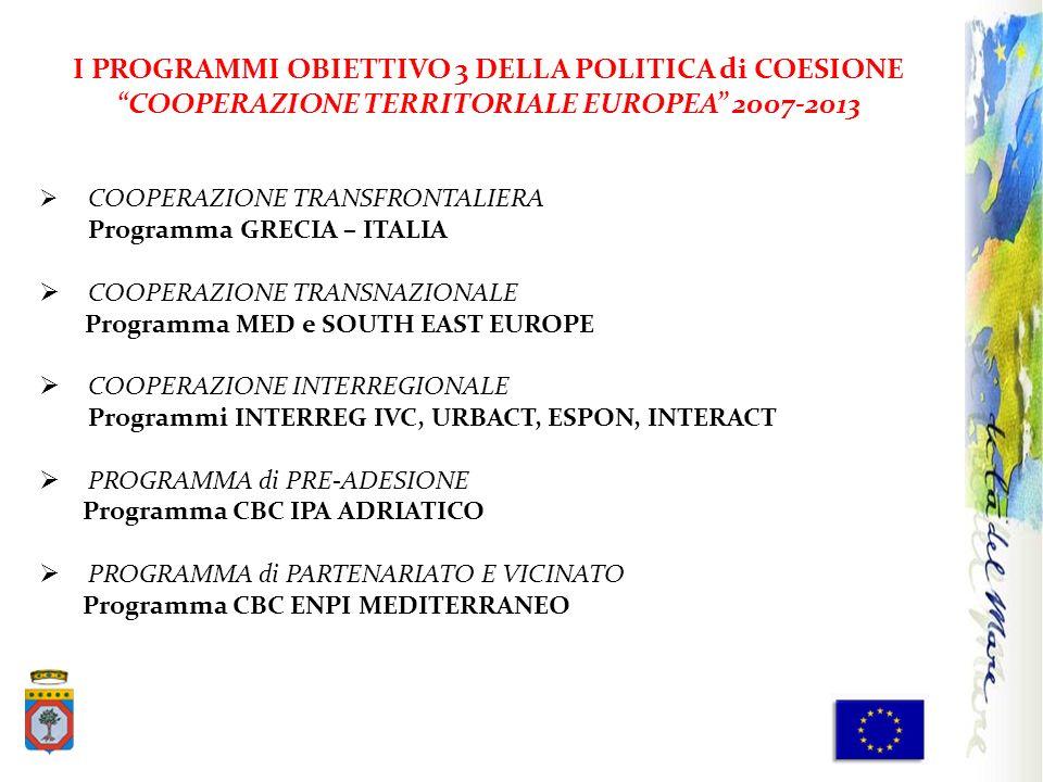 I PROGRAMMI OBIETTIVO 3 DELLA POLITICA di COESIONE COOPERAZIONE TERRITORIALE EUROPEA 2007-2013 COOPERAZIONE TRANSFRONTALIERA Programma GRECIA – ITALIA