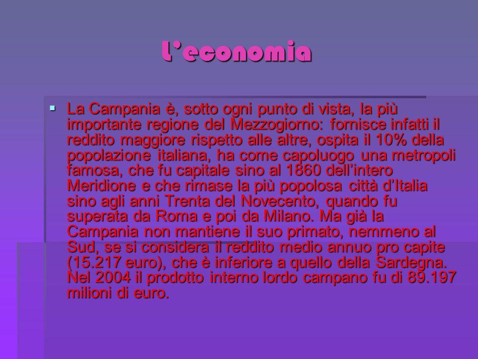 Leconomia Leconomia La Campania è, sotto ogni punto di vista, la più importante regione del Mezzogiorno: fornisce infatti il reddito maggiore rispetto