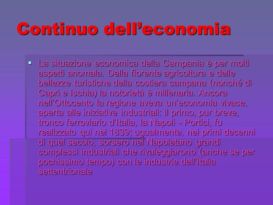 Continuo delleconomia La situazione economica della Campania è per molti aspetti anomala. Della fiorente agricoltura e delle bellezze turistiche della