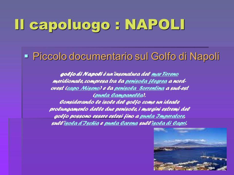 Il capoluogo : NAPOLI Piccolo documentario sul Golfo di Napoli Piccolo documentario sul Golfo di Napoli golfo di Napoli è un'insenatura del mar Tirren