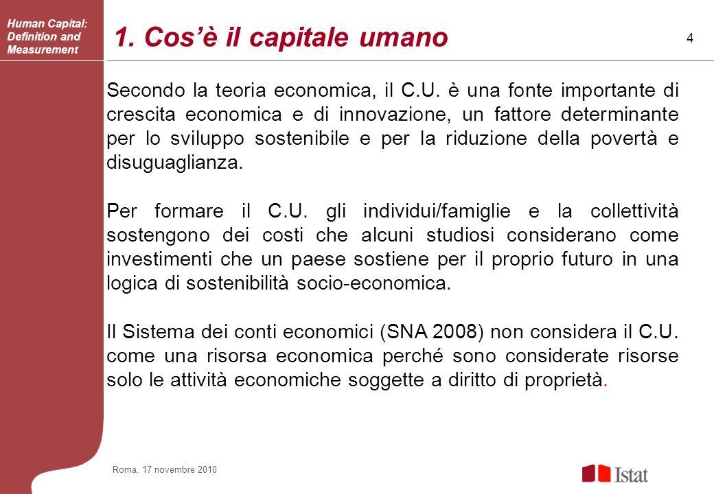 4 Roma, 17 novembre 2010 1. Cosè il capitale umano Secondo la teoria economica, il C.U.