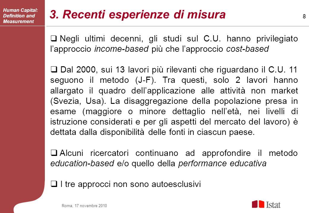 8 Roma, 17 novembre 2010 3.Recenti esperienze di misura Negli ultimi decenni, gli studi sul C.U.