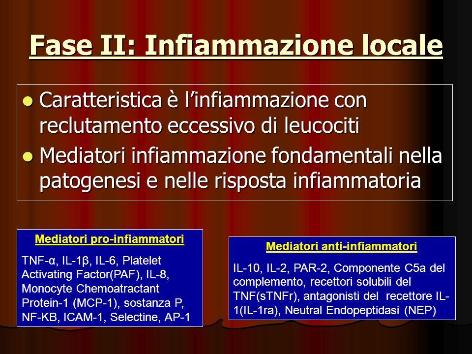 Fase II: Infiammazione locale Caratteristica è linfiammazione con reclutamento eccessivo di leucociti Caratteristica è linfiammazione con reclutamento