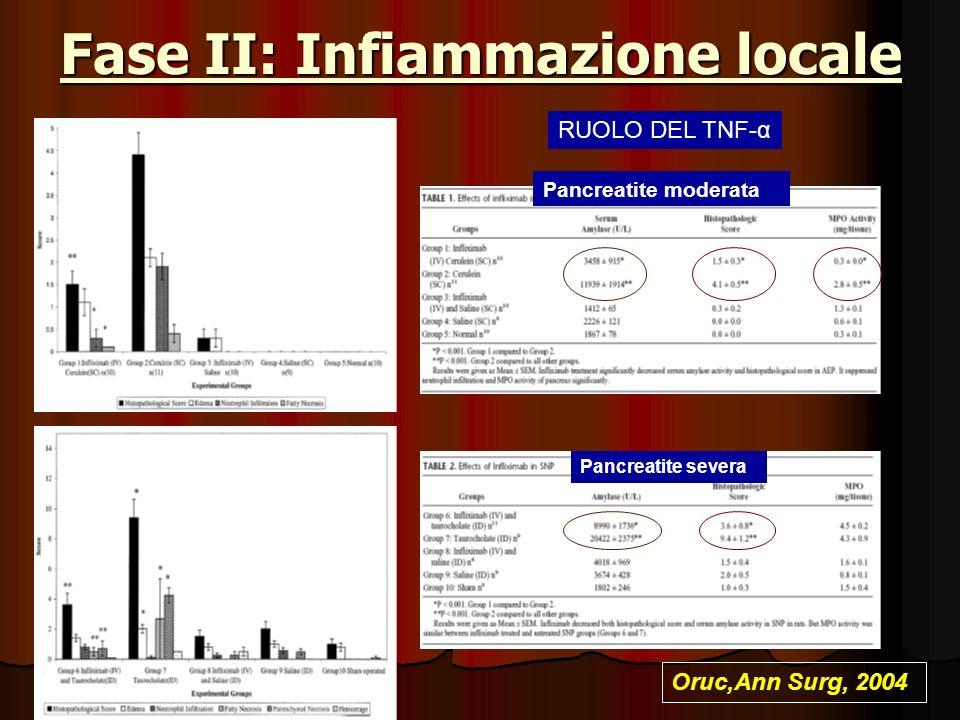 Fase II: Infiammazione locale Oruc,Ann Surg, 2004 RUOLO DEL TNF-α Pancreatite moderata Pancreatite severa