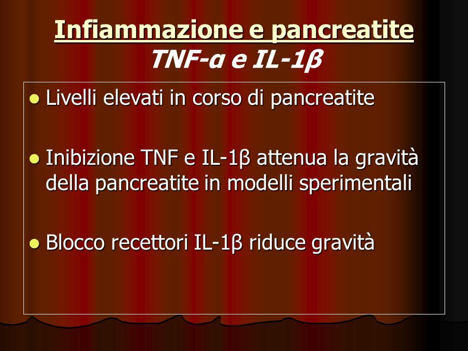 Infiammazione e pancreatite Infiammazione e pancreatite TNF-α e IL-1β Livelli elevati in corso di pancreatite Livelli elevati in corso di pancreatite