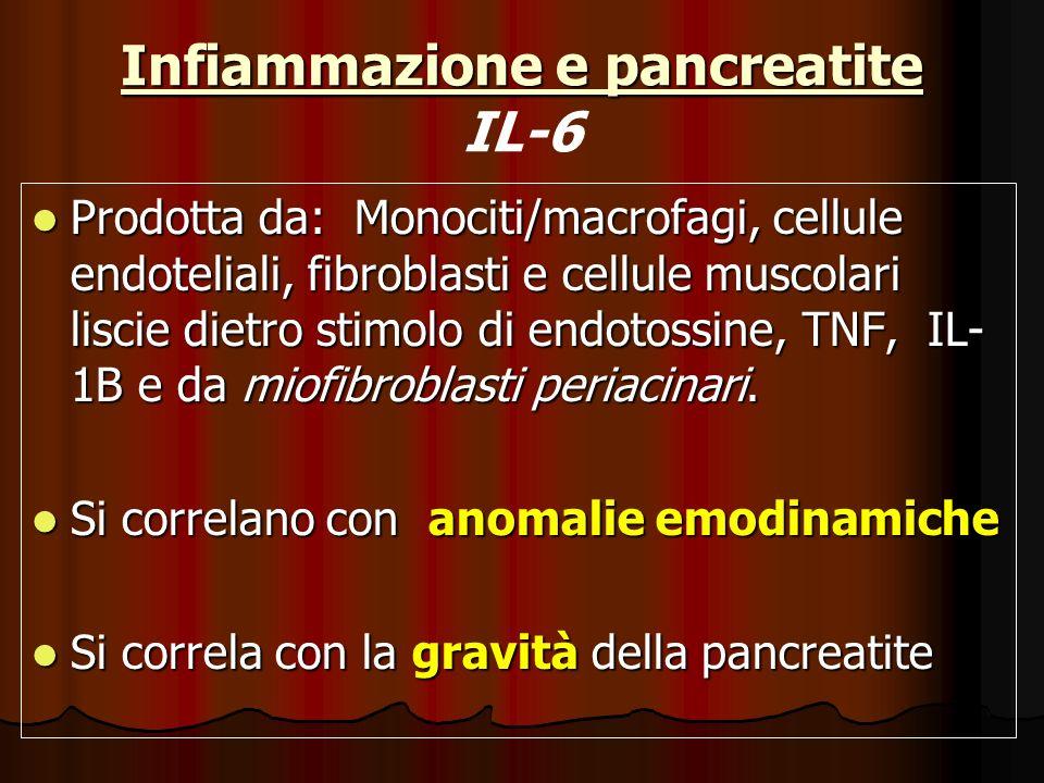 Infiammazione e pancreatite Infiammazione e pancreatite IL-6 Prodotta da: Monociti/macrofagi, cellule endoteliali, fibroblasti e cellule muscolari lis