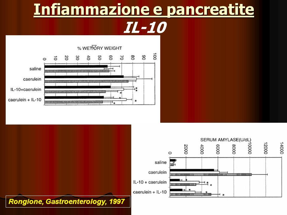 Infiammazione e pancreatite Infiammazione e pancreatite IL-10 Rongione, Gastroenterology, 1997