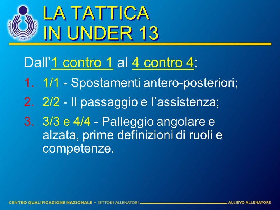 LA TATTICA IN UNDER 13 Dall1 contro 1 al 4 contro 4: 1/1 - Spostamenti antero-posteriori; 2/2 - Il passaggio e lassistenza; 3/3 e 4/4 - Palleggio angolare e alzata, prime definizioni di ruoli e competenze.