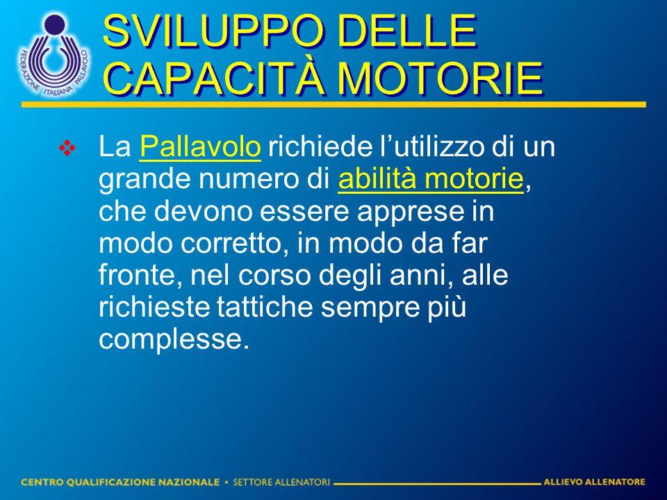 SVILUPPO DELLE CAPACITÀ MOTORIE La Pallavolo richiede lutilizzo di un grande numero di abilità motorie, che devono essere apprese in modo corretto, in